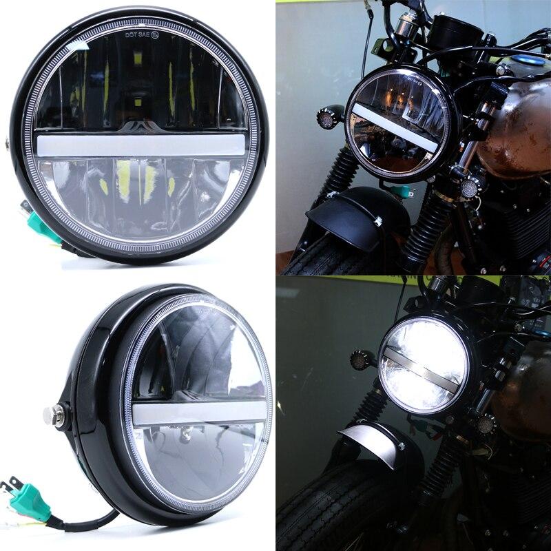 JIUWAN 7 inch Motorcycle  LED Headlight  High/Low Beam DRL Headlamp Fog Light Passing Lamps Moto Spotlight Black with Cover 12V