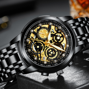 Image 5 - NEKTOM Wrist Watches Men Top Brand Luxury Golden Chronograph Mens Watch Gold Big Dial Man Wristwatch Relogio Masculino