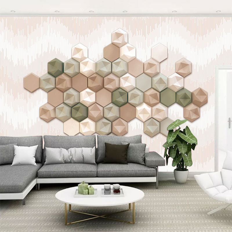 Simple Cool Glorious Wallpaper Mural 5D Stereo Hexagon Geometry Art Living Room Sofa TV Background Wallpaper