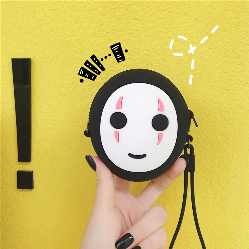 Hayao Miyazaki Anime Spirited Away Faceless Kawaii Silicone Saving Bank Toys Pendant Cartoon Q Vesion No Face Silica Coin Purse