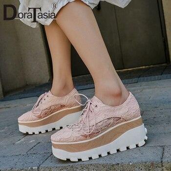 DORATASIA Brand Genuine Leather Female Sneakers Lace Up Wedges Fashion Vulcanize Women Lace  Platform Shoes Woman