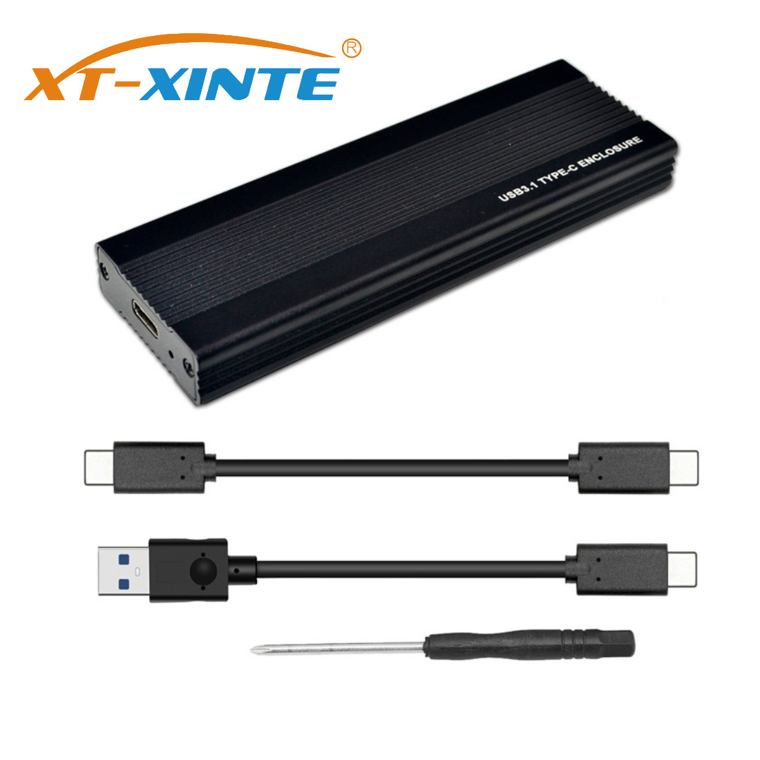 XT-XINTE NVME SSD Enclosure PCI-E M.2 To USB 3.1 Type-C Adapter USB C 10Gbps RTL9210 M2 M Key PCIE Hard Drive Disk External Box