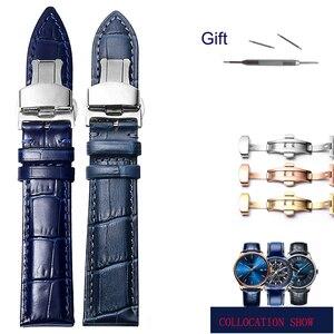 Ремешок для часов, синий ремешок из натуральной кожи с пряжкой-бабочкой для citizen rossini, 20 мм, 21 мм, 22 мм, 23 мм