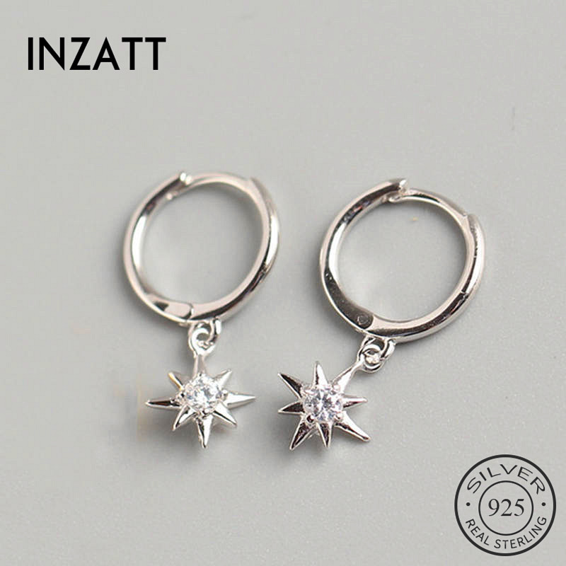 INZATT Real 925 Sterling Silve Zircon Star Hoop Earrings For Fashion Women Party Fine Jewelry Minimalist Accessories Cute Gift