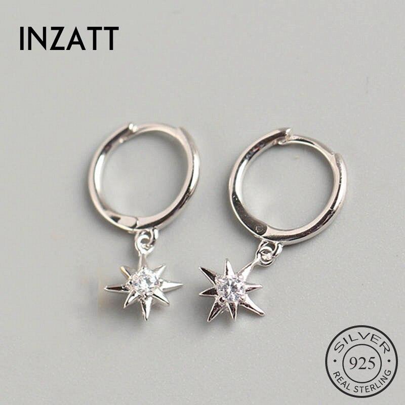 INZATT Real 925 Sterling Silve Zircon Star Hoop Earrings For Fashion Women Party Fine Jewelry Minimalist Accessories Cute Gift