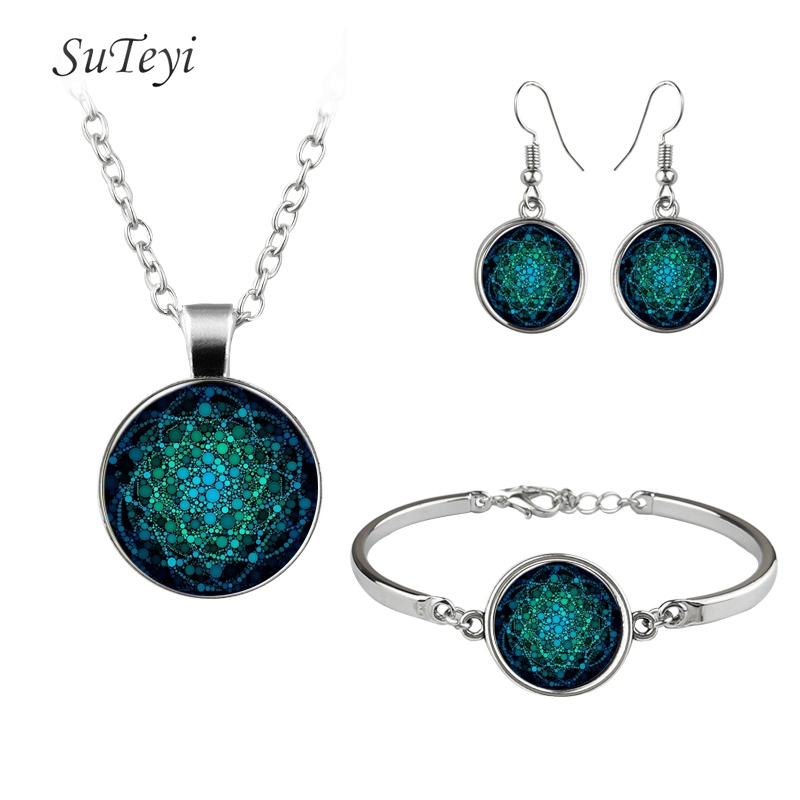 SUTEYI Vintage Women Jewelry sets Buddhist Mandala Geometric Picture Glass Dome Necklaces Bracelets Earrings Jewellery