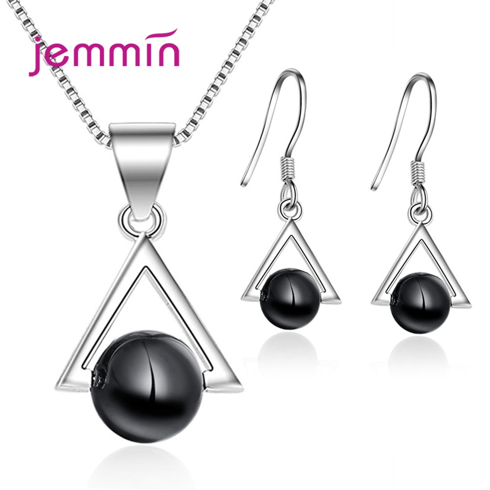 Hot Selling Women 925 Sterling Silver Jewelry Sets Charm Pearl Pendant Earrings/Necklace For Wedding/Engagement Party Jewelry
