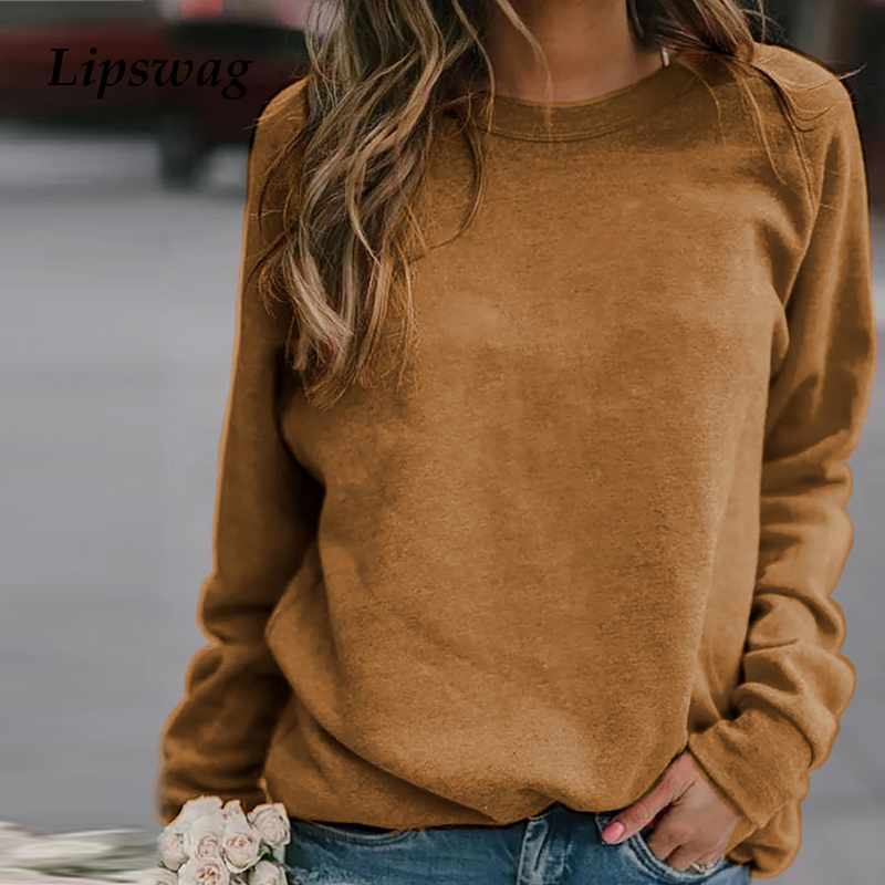 Lipswag 5XL Casual Long Sleeve Women Hoodies Autumn Winter O-neck Sweatshirt Fashion Solid Color Plus Size Tops Pullover Female