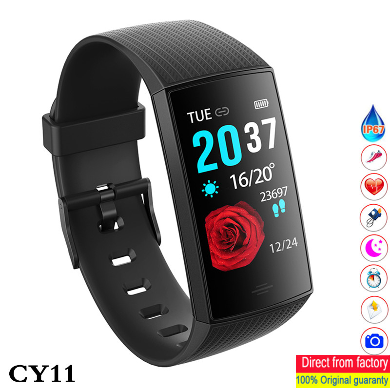 CY11 Bluetooth smart bracelet with color screen Health Monitor Heart Rate Blood Pressure Pedometer men women smart Wristband