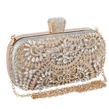 Women Flower Crystal Clutch for Wedding Party Rhinestone Evening Bag