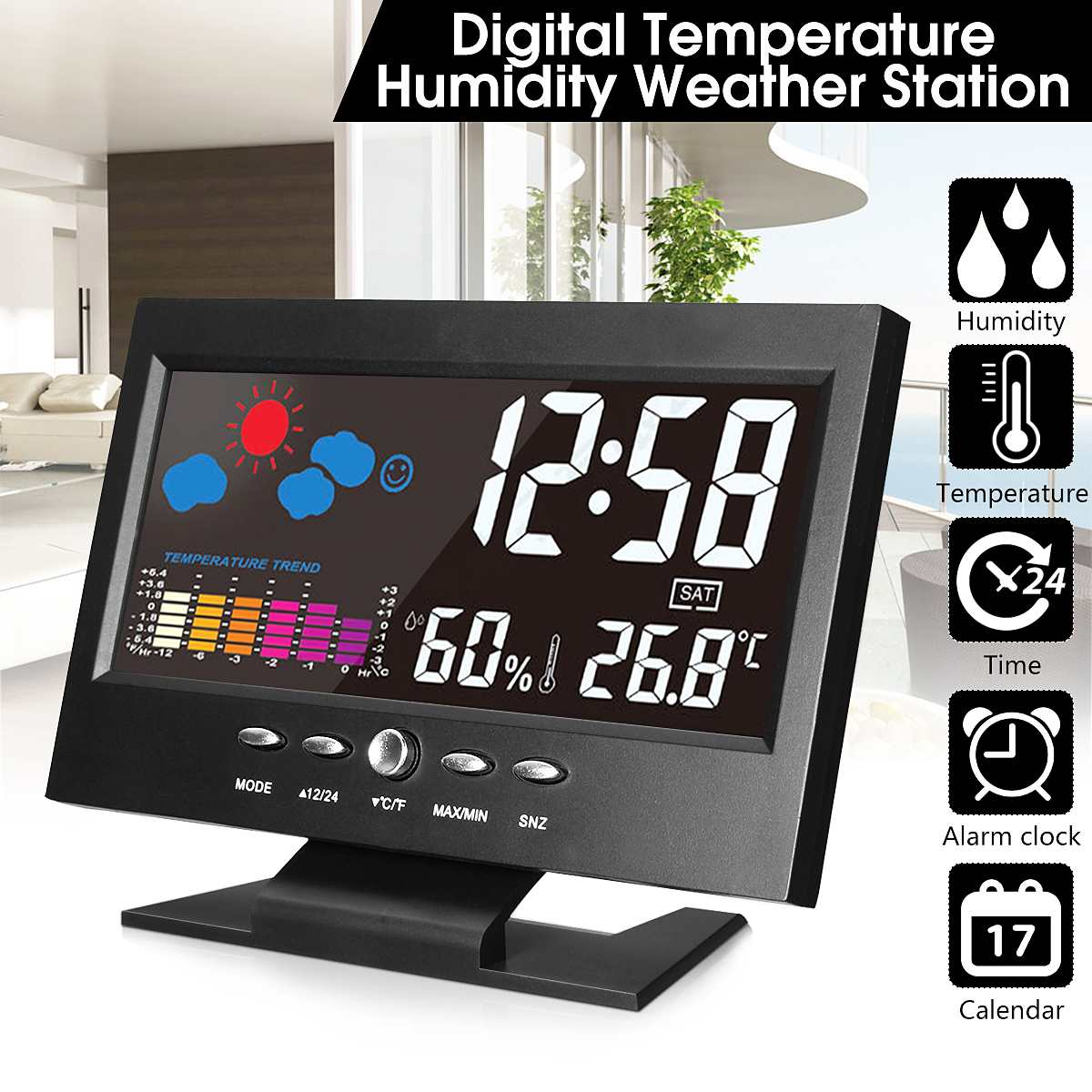 LCD Weather Station Thermometer LCD Color Screen Indoor Temperature Humidity Calendar Humidity/Weather/Snooze Alarm Clock