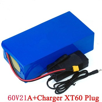 KLUOSI 60V 21ah 16s6p Lithium Battery Pack 18650 GA 1700W electric bicycle battery Built in 30A BMS XT60 plug+67.2V 5ACharger