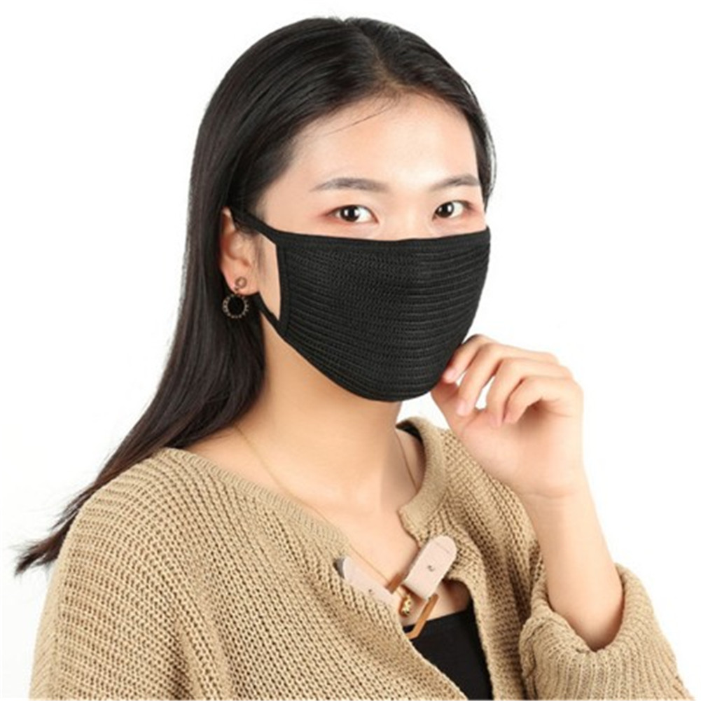 1pc Simple Cotton Mouth Mask Anti Dust Mouth-muffle Washable Black Mask On Face For Man Women Respirator