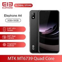 هاتف محمول ELEPHONE A4 بذاكرة وصول عشوائي 3 جيجابايت وذاكرة قراءة فقط 16 جيجابايت وكاميرا خلفية 8 ميجابكسل يعمل بنظام الأندرويد 8.1 وشاشة بأبعاد 5.85 بوصة وشاشة بأبعاد HD + 18:9 بوصة وشاشة بأبعاد 5 ميجابكسل ومعالج التعرف على الوجه ومعالج MTK6739 رباعي النواة