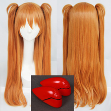 شعر عالي الجودة EVA Asuka Langley Soryu طويل برتقالي مقاوم للحرارة تأثيري حلي شعر مستعار مع 2 مقاطع ذيل حصان + أغطية الرأس