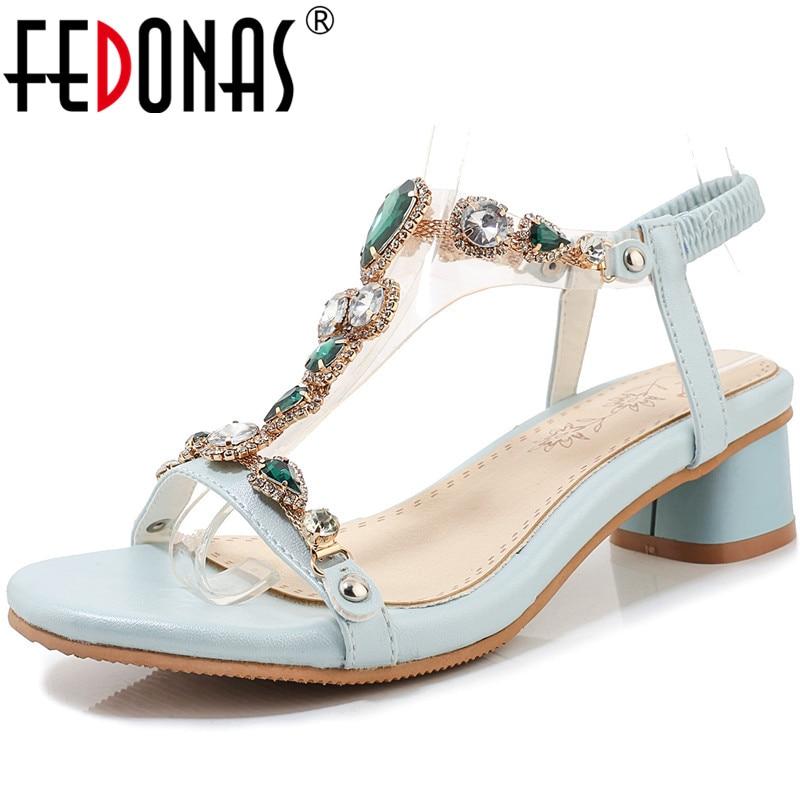 FEDONAS Sweet Retro Women Glotters Sandals 2020 Square Heels Summer Shoes Woman Wedding Party Colorfl Rhinestone Shoes Woman