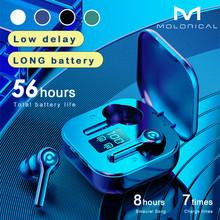 56 Uur Lange Batterij Draadloze Bluetooth V5 1 Oortelefoon Kleurrijke Draadloze Hoofdtelefoon Hifi Stereo Oordopjes Oproep Oortelefoon Met Microfoon cheap Molorical NONE Dynamische Cn (Oorsprong) Echte Draadloze 10dB voor internet bar voor video game gemeenschappelijke hoofdtelefoon
