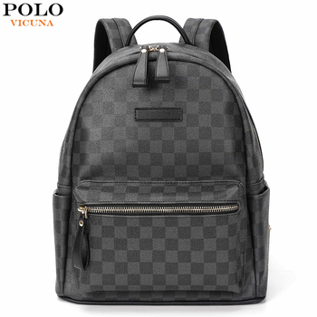 VICUNA POLO Famous Brand Plaid Design Unisex Leather Backpack For Men/Women Business Travel Laptop  mochila New