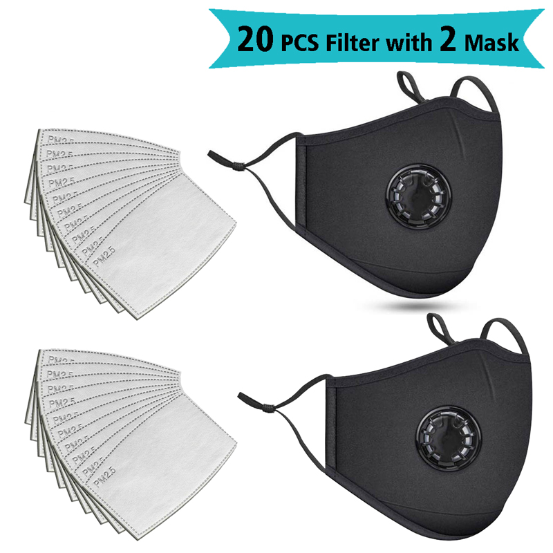 20 PCS Filter Fashion Mask PM2.5 Filter Dust Mouth Mask Respirator Washable Reusable Masks Cotton Unisex Mouth Muffle Black