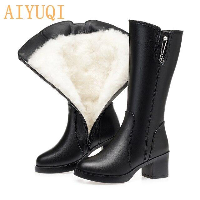 AIYUQI 신발 여성 발 뒤꿈치 부츠 2020 새로운 정품 가죽 겨울 부츠 여성 양모 Wram 큰 크기 42 43 긴 부츠 여성 구매