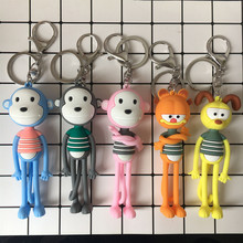 2019 New Fashion cute cartoon monkey Key chain chain men and women gift Keychain small gifts ladies Bag pendant Gift Key ring wholesale real black blue grey pink python leather key chain customize keychain gift men women xmas family birthday couple gifts