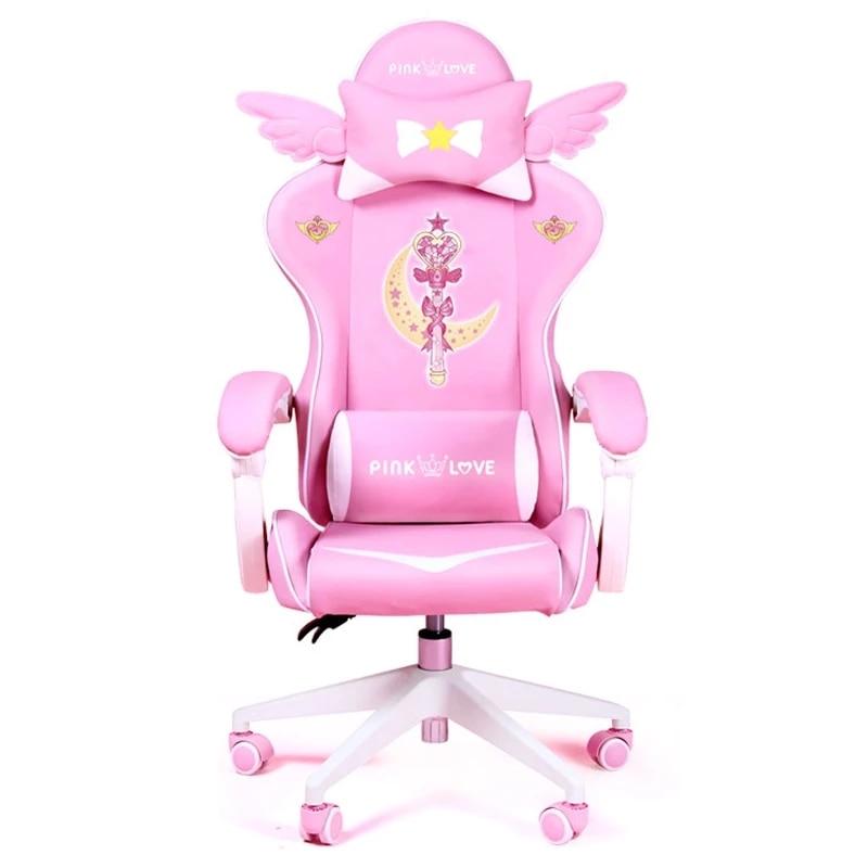 Cadeira de jogos mágica rosa menina jogo cadeira giratória competitiva casa liftable cadeira do computador moda confortável âncora cadeira ao vivo