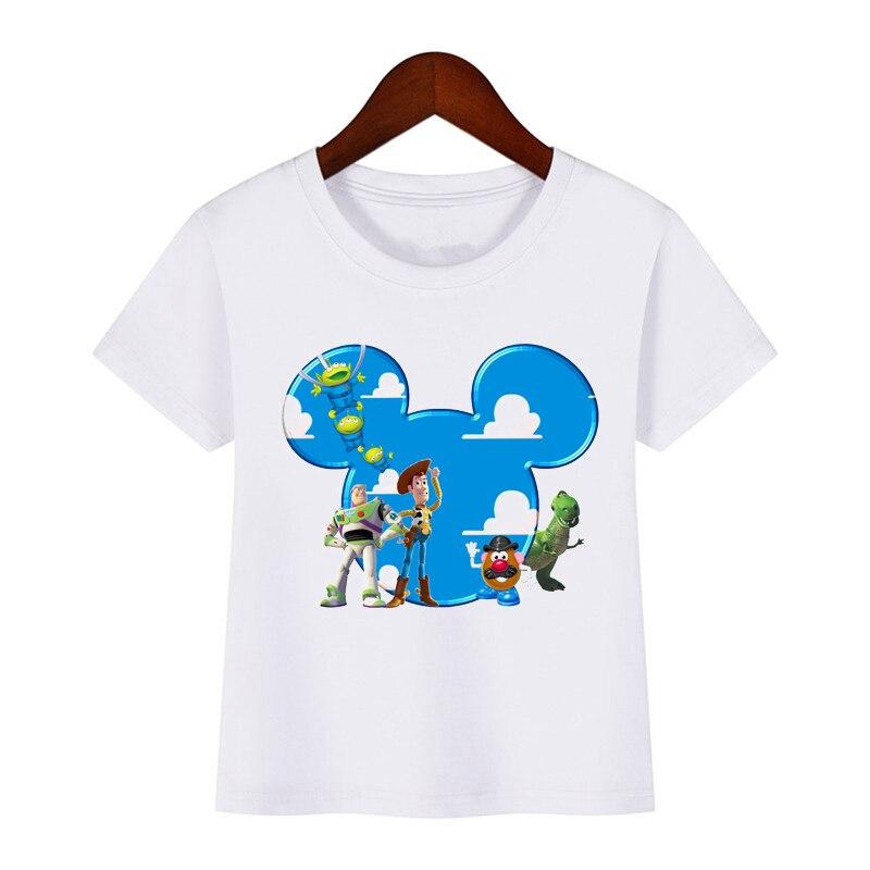 Футболка с принтом из мультфильма «игрушка 4» для мальчиков и девочек, забавная одежда для детей, летняя повседневная футболка для малышей, ...