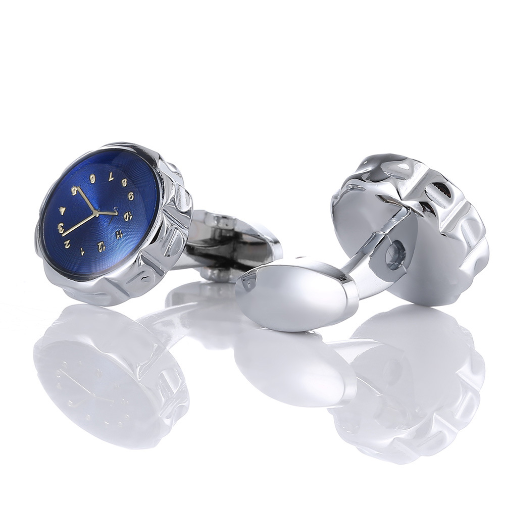 Cufflinks Men's High-grade Blue Bottom Clock Hands Shape Business Dress High Quality Metal Copper French Shirt Cuff Links Gifts