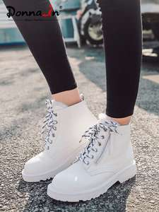 Donna-In Platform-Shoes Matin-Boots Lace-Up Snow Wool Female White Autumn Winter Genuine-Leather