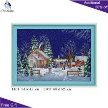 Your Gift Christmas Snow Day Home Decor F758 14CT 11CT Counted and Stamped Country Walk Couple Embroidery DIY Cross Stitch Kits(China)