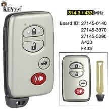Keyecu a433 f433 27145 0140 / 27145 3370 / 27145 5290 cartão inteligente remoto chave fob para toyota avalon camary aurion sequoia prius