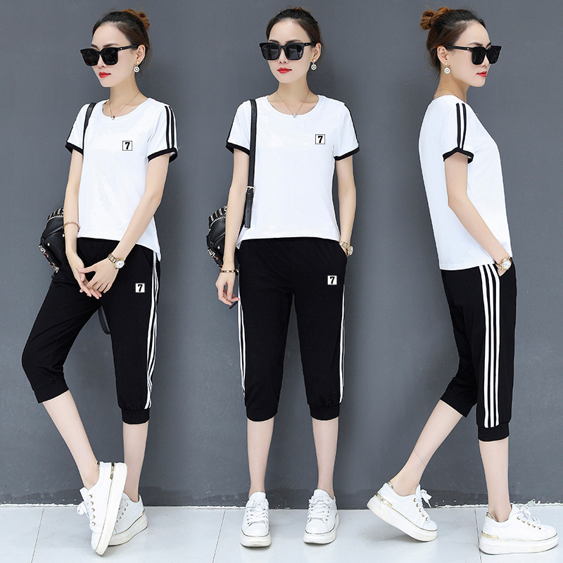 Figure Rong Summer WOMEN'S Short Sleeve Shirt Casual WOMEN'S Suit M-4xl Korean-style Fashion & Sports Two Piece Set