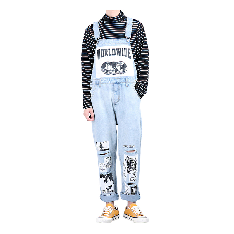 Sokotoo Men's Pattern Printed Light Blue Ripped Denim Bib Overalls Streetwear Doodle Painted Jumpsuits Jeans