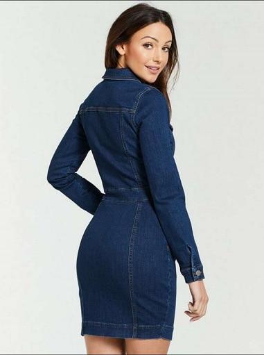 2019 Fall Denim Shirt Dress Robe Jean Femme Casual Long Sleeve Single Button Pocket Mini Jean Dress Blue Jean Dresses For Women Buy At The Price Of 31 83 In Aliexpress Com Imall Com