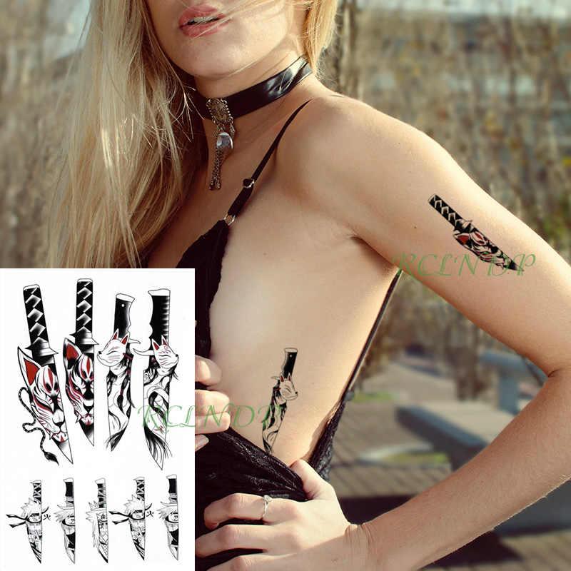 Wodoodporna tymczasowa naklejka tatuaż kreskówki Naruto nóż seksowna dziewczyna kot fałszywe Tatto Flash tatuaż duże rozmiary tatuaże dla kobiet mężczyzn