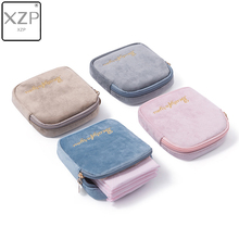 XZP Girls Diaper Sanitary Napkin Storage Bag Velvet Sanitary Pads Package Bags Coin Purse Jewelry Organizer Earphone Pouch Case 2017 new casual candy color bags for girl cotton diaper sanitary napkin package bag storage organizer makeus bag free shipping