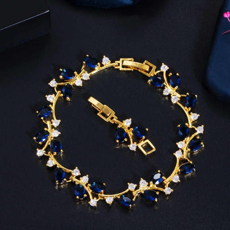 Cwwzircons elegante ramo de folha cor ouro amarelo cintilante zircão cúbico pulseira moda feminino jóias de casamento presente cb220