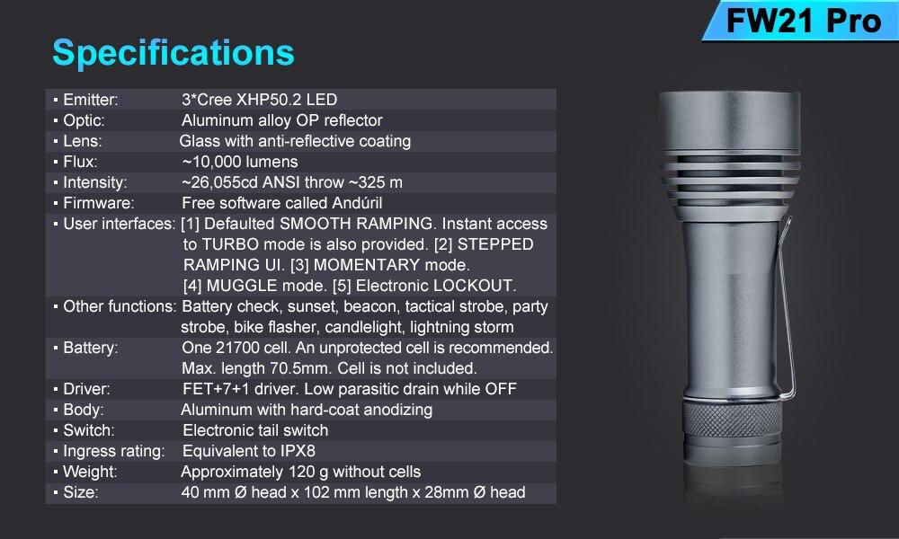 potência edc lanterna 3pcs cree xhp50.2 led