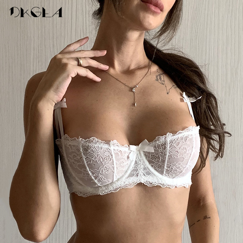 Ultrathin Underwear Plus Size 34 36 38 C D Cup Sexy Bras Embroidery Lingerie Lace Women Transparent Bra Half Cup White Brassiere