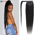 Обёрточная бумага вокруг длинные прямые хвост человеческие волосы Волосы Remy наращивания Малайзия наращивание волос на клипсах, натуральны...