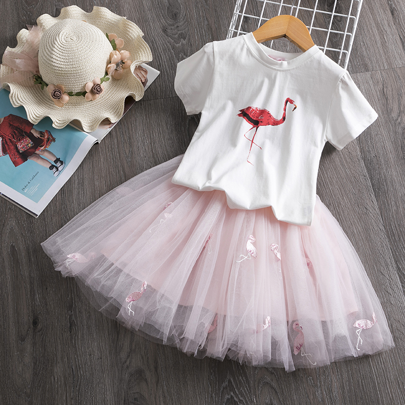 2021 Toddler Girl Kids Set 2 Piece Girl Set Dresses Party Little Girl Clothes for Flamingo Girls Dress Summer Clothing 7 Years 2