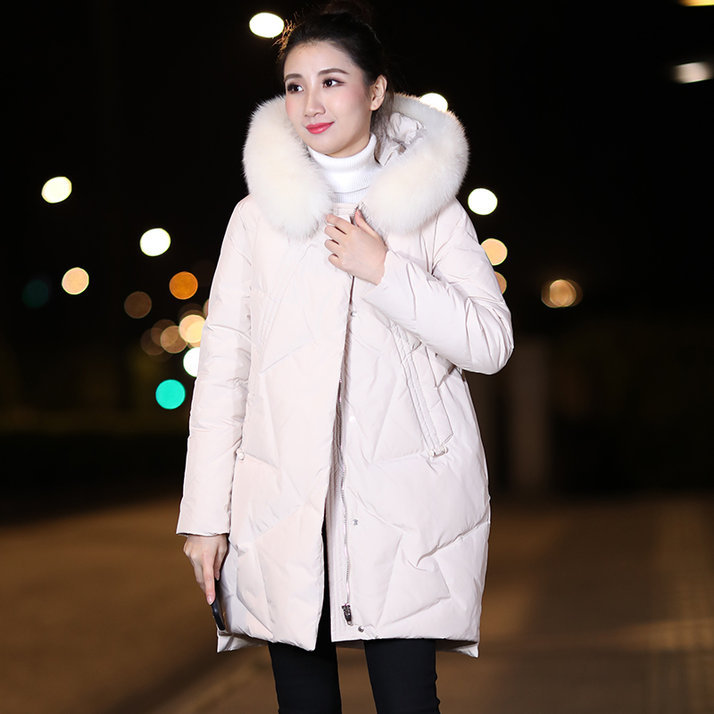 Women Coat Winter Down Coat Big Fur Collar White Duck Down Jacket Korean Puffer Jacket Parka Chaqueta Mujer 9353-3YY1505