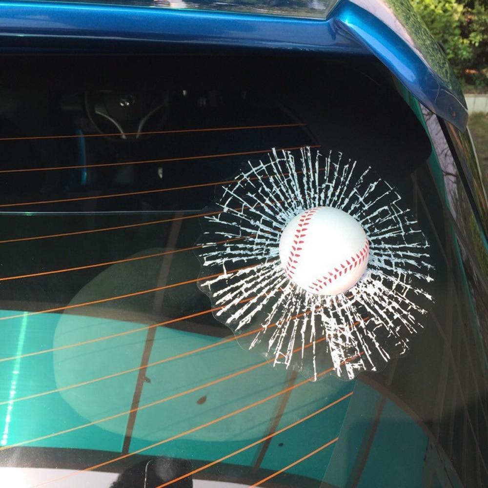 Funny 3D Sticker Baseball Broken Glass Jokes Toys Ball Hits Car Window Football Tennis Stickers Novelty Toy
