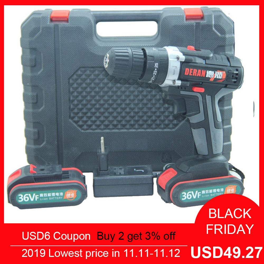 36V Electric Drill Cordless Impact 2 Speed DIY Electric Screwdriver with Flashlight 6500mah Rechargeable Battery Power Tools