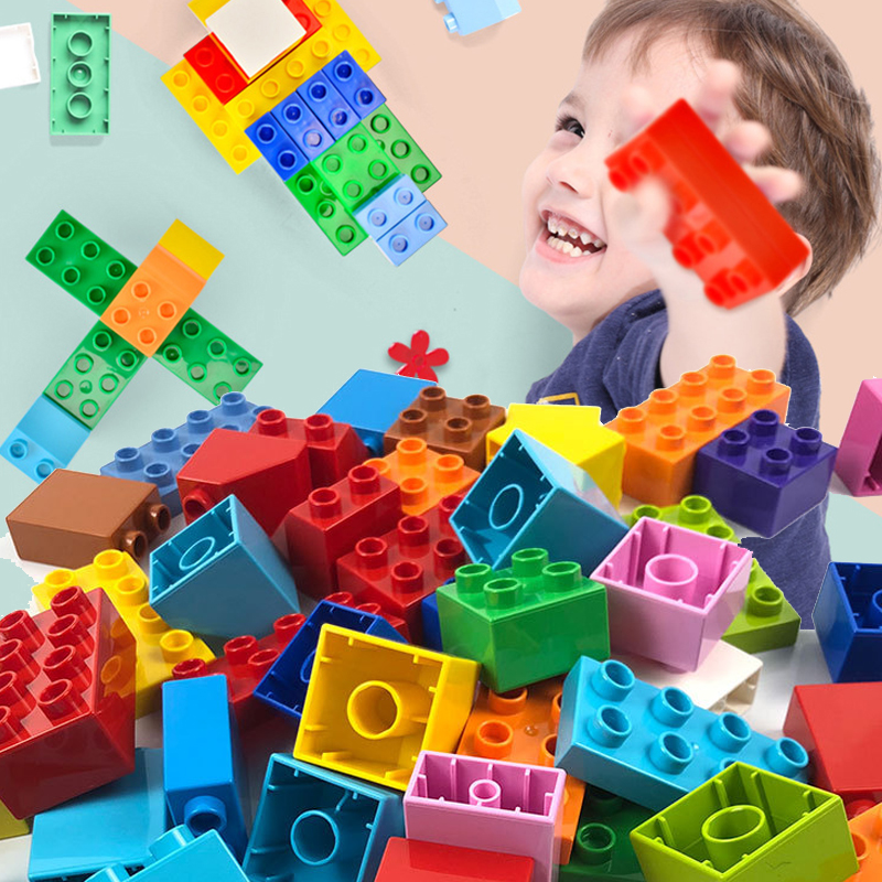 30-137pcs Assemble Big Size DIY Building Blocks Compatible Duploed Bricks Set Construction Blocks Accessories Toys For Children