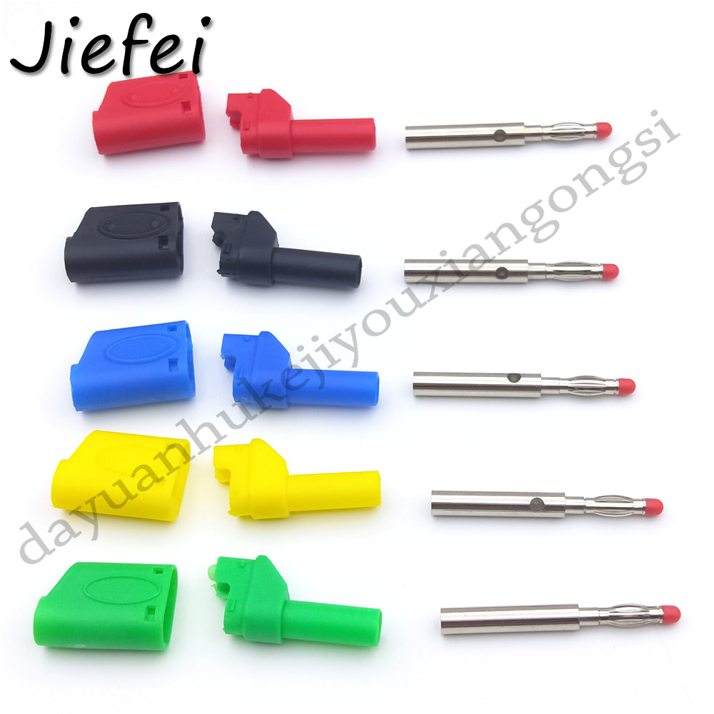 20-200pcs New 5 color Shrouded Fully Insulated Safety 4mm Male Stackable Banana Plug Connector