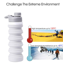 550ml Collapsible Water Bottle Portable Foldable Folding Silicone Compact Drink for Camping Backpacking Hiking Climbing