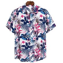 2020 Quality Harajuku Beach Shirt Men Short Sleeve Hawaiian Shirt Casual Summer Floral Print Men Blouse Loose Surfing(China)