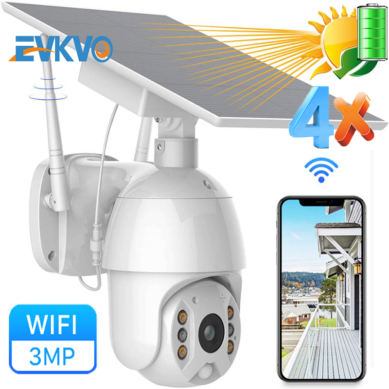 3MP Solar WiFi IP PTZ Camera Outdoor 1536P Dual-Light Color IR Night Vision Two-Way Audio PIR Detect Wireless CCTV Surveillance