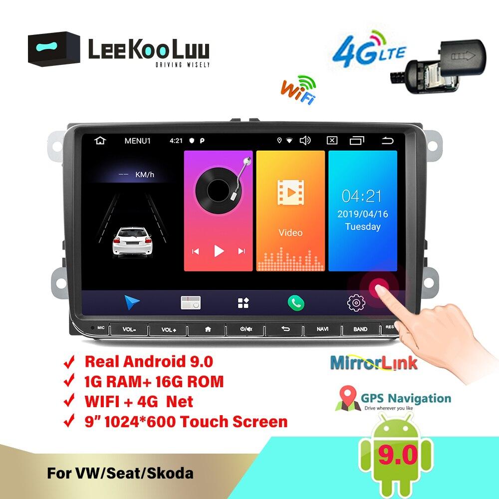 Autoradio LeeKooLuu Android 9.0 9 pouces 2 Din Autoradio GPS pour VW Polo Golf 4 5 Passat B6 Skoda Octavia Rapid Fabia SIM 4G WIFI